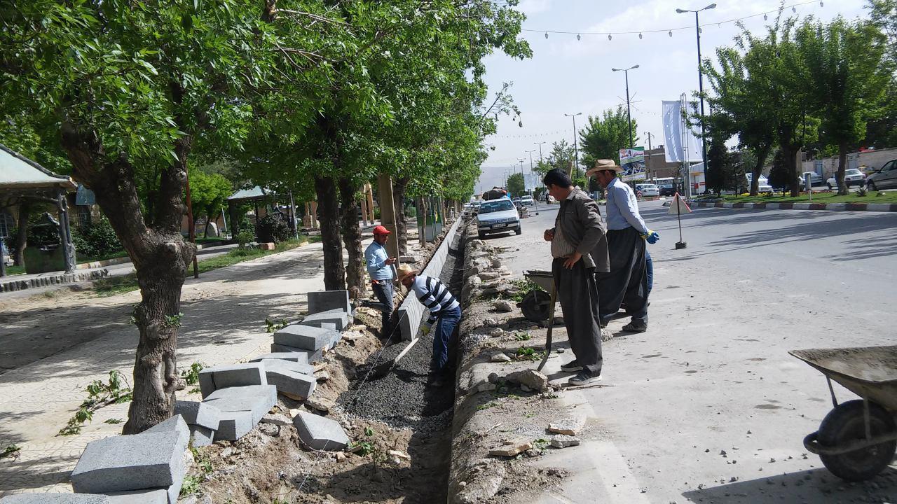 اصلاح - سامان دهی ، جدولگذاری ،  پلاک کوبی پیاده روهای ورودی شهر - پارک نیلوفر و ادامه پلاک کوبی پیاده رو خیابان بهشتی
